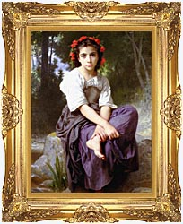 William Bouguereau At The Edge Of The Brook canvas with Majestic Gold frame