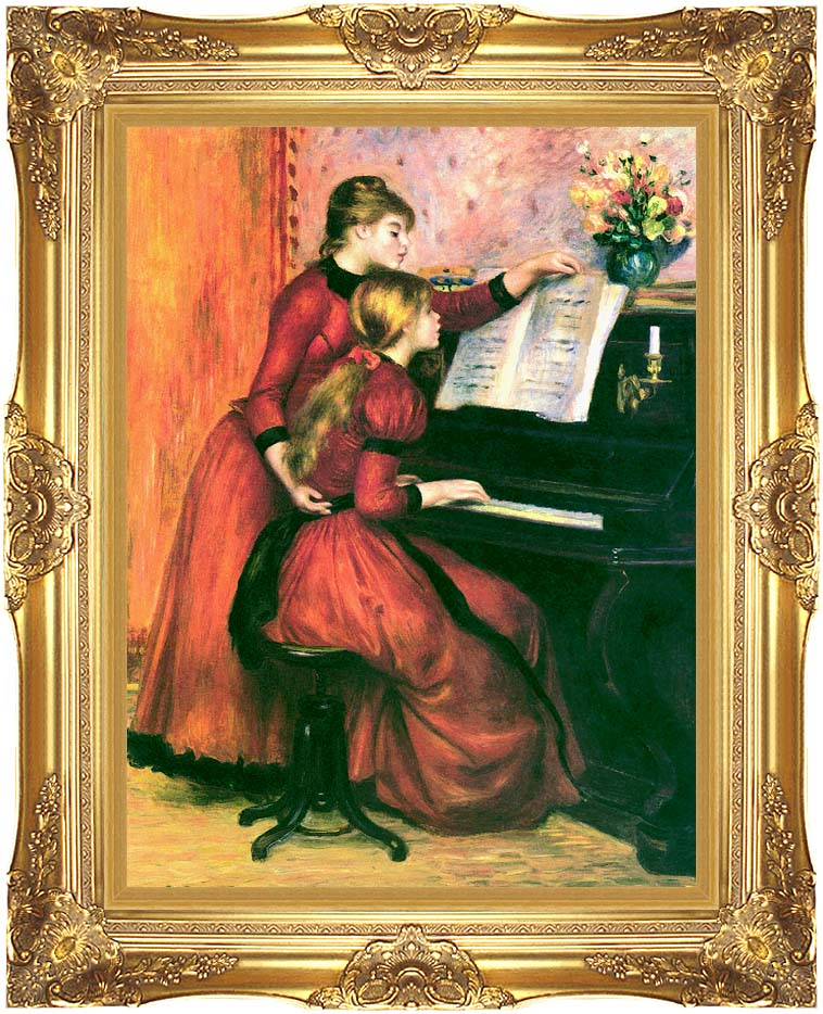 Pierre Auguste Renoir The Piano Lesson with Majestic Gold Frame