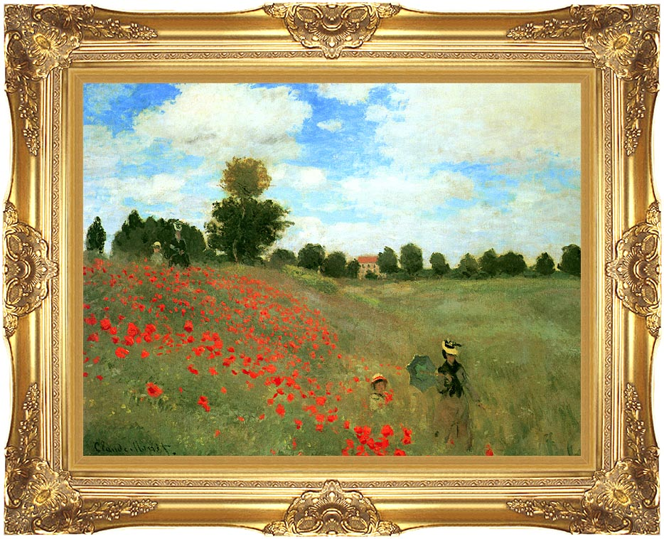 Claude Monet Red Poppies at Argenteuil with Majestic Gold Frame