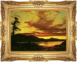 Frederic Edwin Church Sunset Detail canvas with Majestic Gold frame
