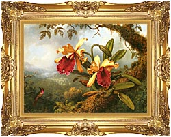 Martin Johnson Heade Orchids And Hummingbird canvas with Majestic Gold frame