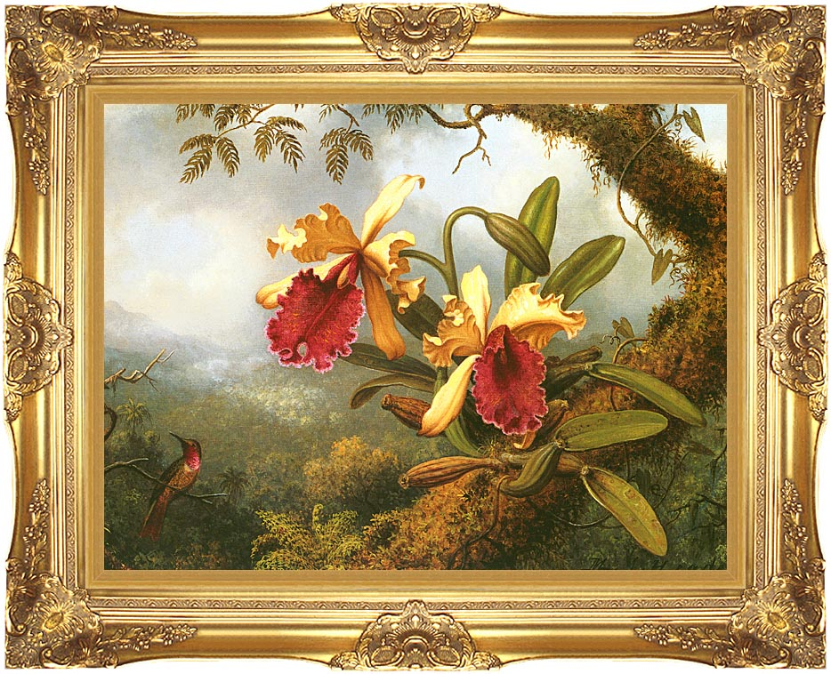 Martin Johnson Heade Orchids and Hummingbird with Majestic Gold Frame