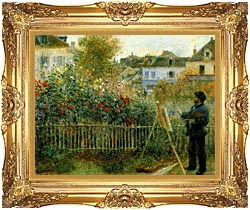 Pierre Auguste Renoir Claude Monet Painting In His Garden At Argenteuil canvas with Majestic Gold frame