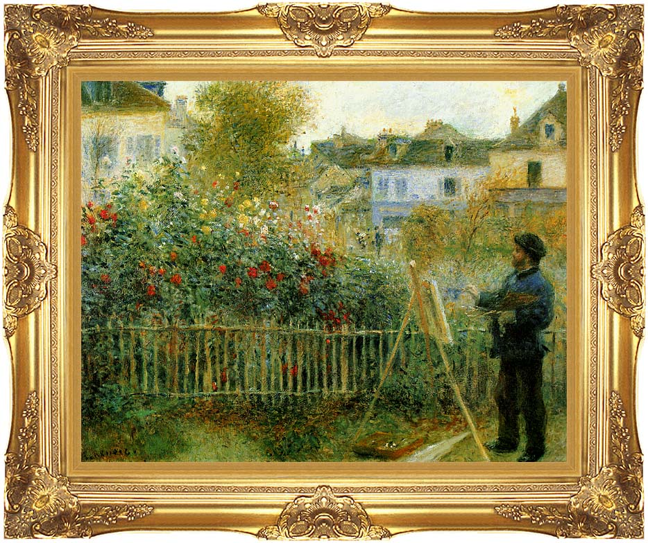Pierre Auguste Renoir Claude Monet Painting in his Garden at Argenteuil with Majestic Gold Frame