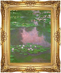 Claude Monet Water Lilies 1905 Portrait Detail canvas with Majestic Gold frame
