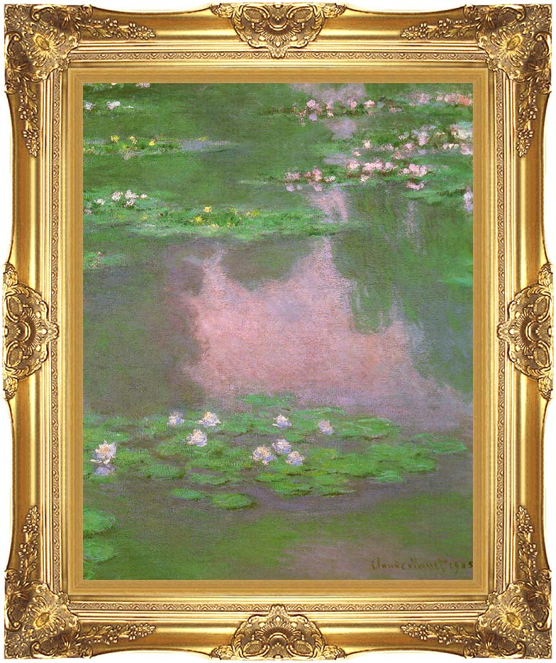 Claude Monet Water-Lilies 1905 (portrait detail) with Majestic Gold Frame
