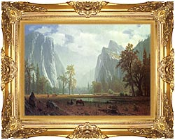 Albert Bierstadt Looking Up The Yosemite Valley Detail canvas with Majestic Gold frame