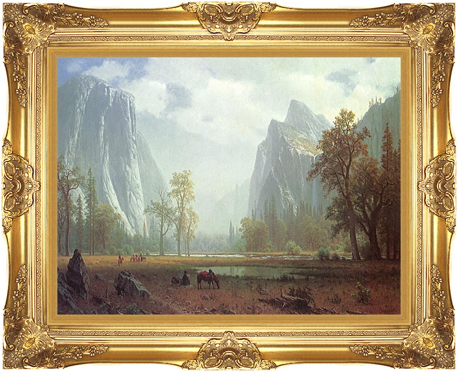 Albert Bierstadt Looking up the Yosemite Valley (detail) with Majestic Gold Frame