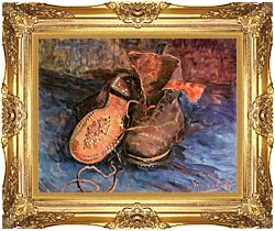 Vincent Van Gogh A Pair Of Shoes canvas with Majestic Gold frame