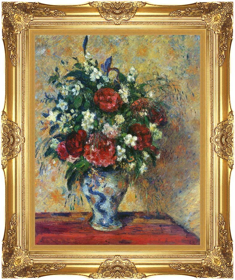 Camille Pissarro Vase of Flowers with Majestic Gold Frame