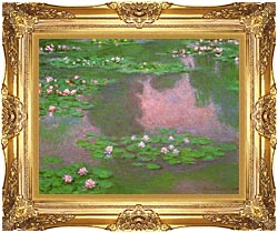 Claude Monet Water Lilies 1905 Detail canvas with Majestic Gold frame