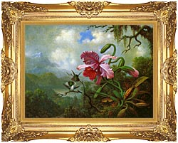 Martin Johnson Heade Orchid And Hummingbirds Near A Mountain Lake canvas with Majestic Gold frame