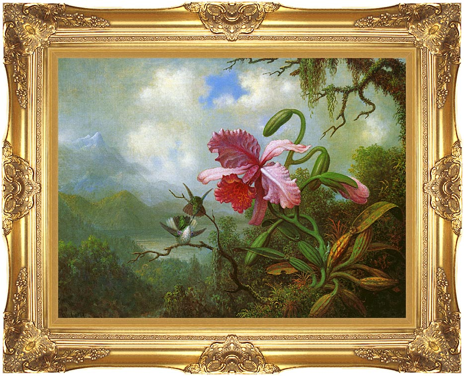 Martin Johnson Heade Orchid and Hummingbirds near a Mountain Lake with Majestic Gold Frame