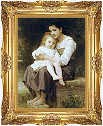 William Bouguereau Big Sister canvas with Majestic Gold frame