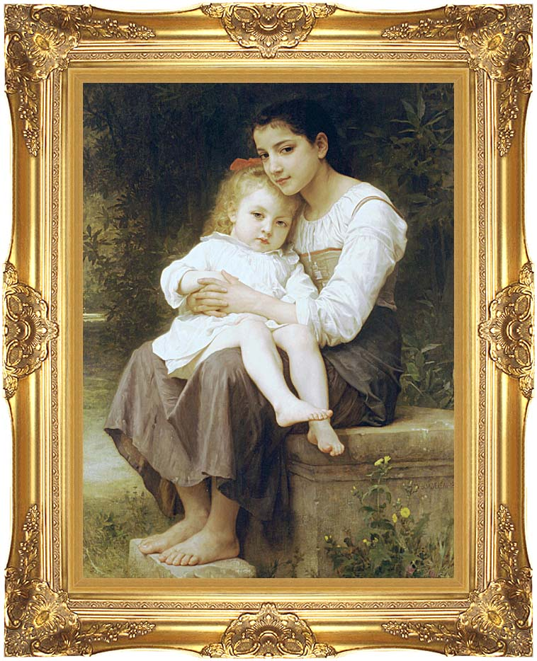 William Bouguereau Big Sister with Majestic Gold Frame