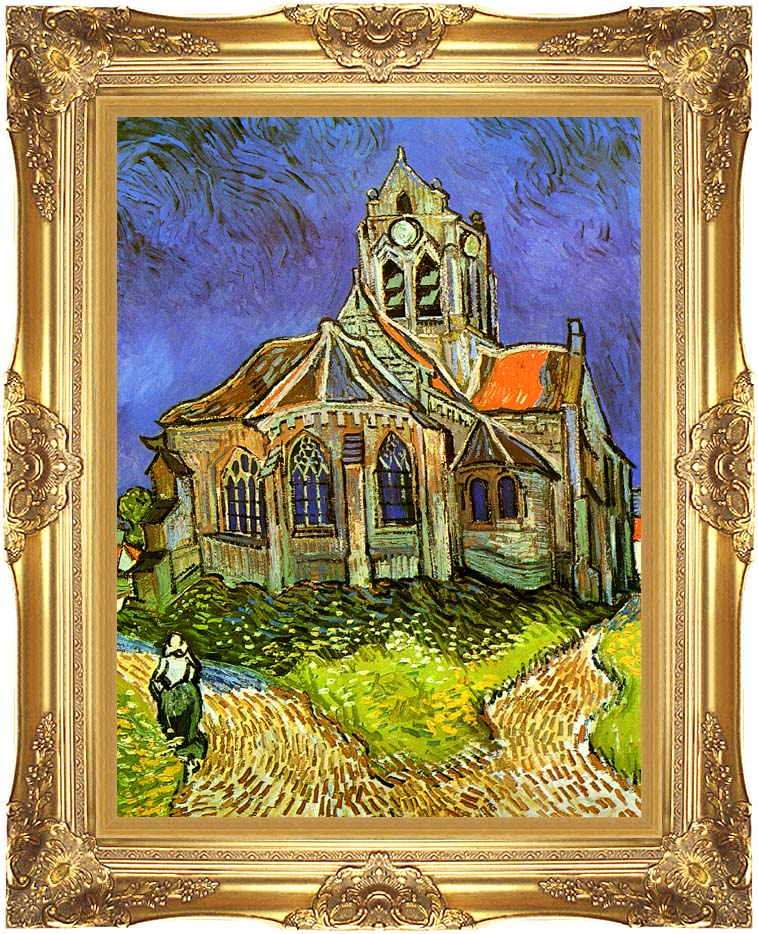 Vincent van Gogh The Church at Auvers with Majestic Gold Frame
