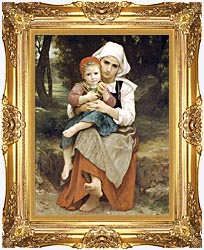 William Bouguereau Breton Brother And Sister canvas with Majestic Gold frame