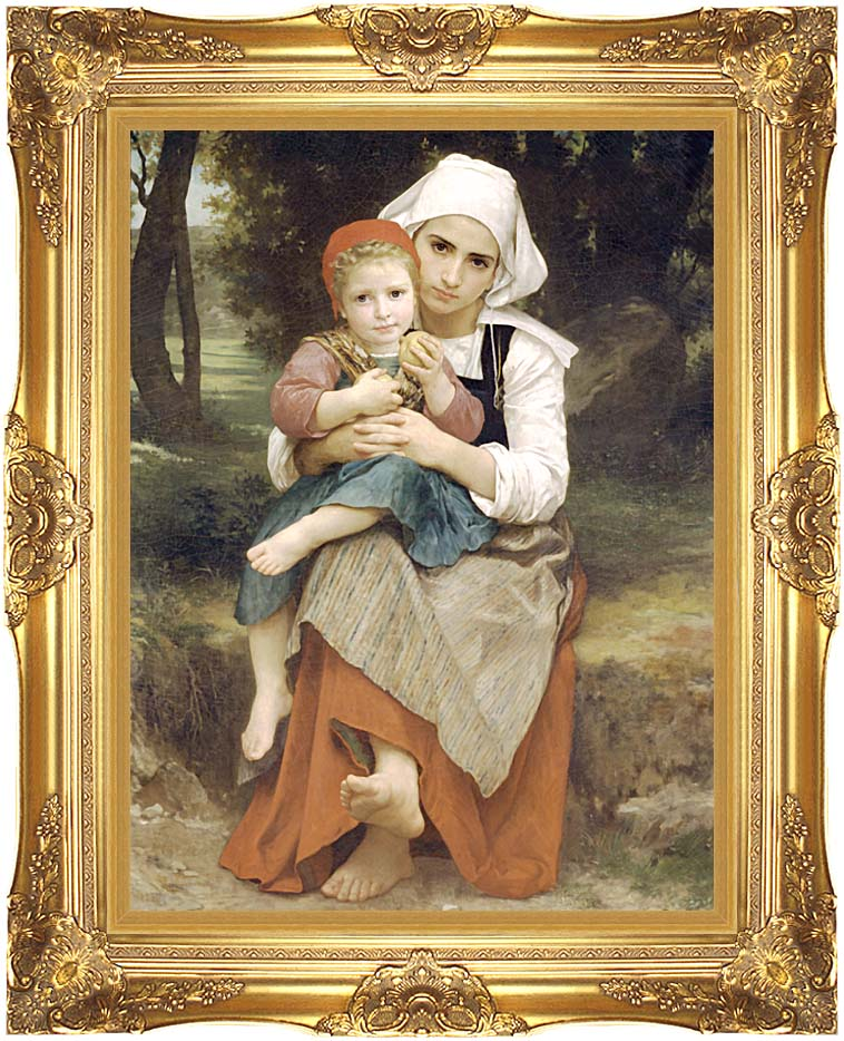 William Bouguereau Breton Brother and Sister with Majestic Gold Frame