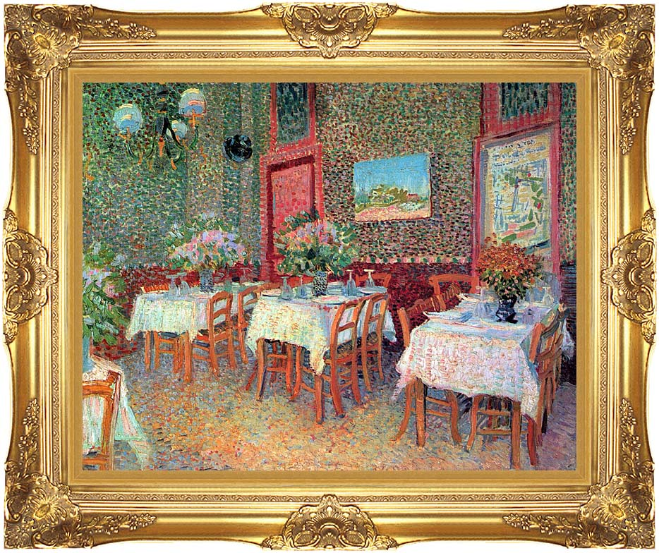 Vincent van Gogh Interior of a Restaurant with Majestic Gold Frame