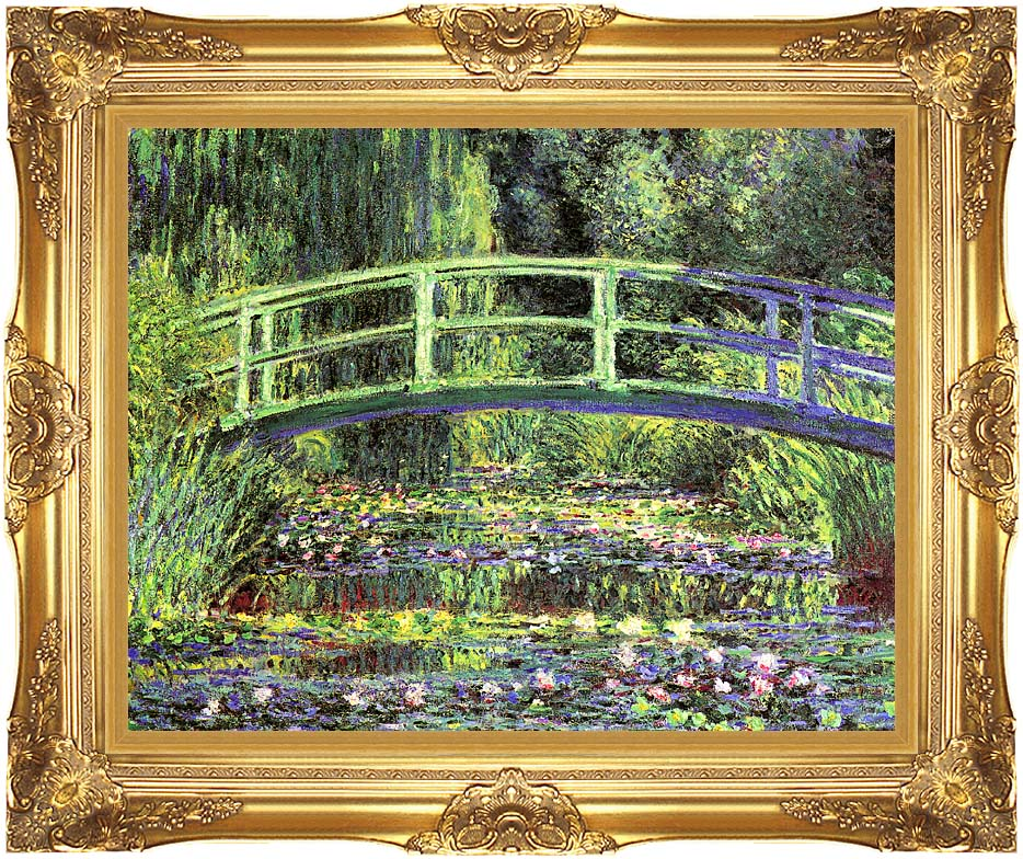 Claude Monet Water Lilies and Japanese Bridge with Majestic Gold Frame