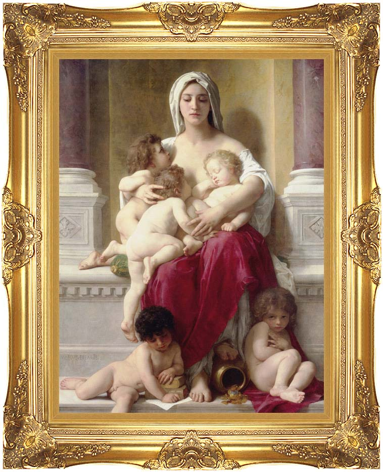 William Bouguereau Charity with Majestic Gold Frame