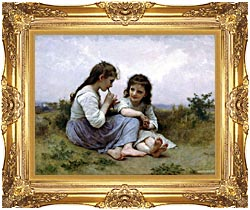 William Bouguereau Childhood Idyll canvas with Majestic Gold frame