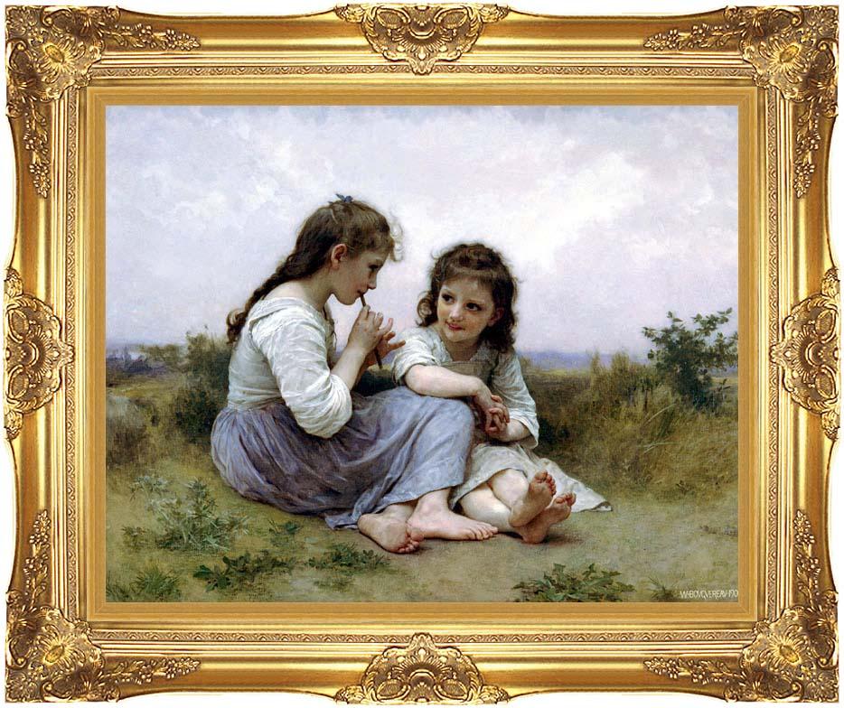 William Bouguereau Childhood Idyll with Majestic Gold Frame