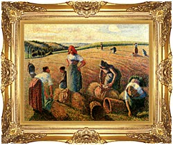 Camille Pissarro The Gleaners canvas with Majestic Gold frame