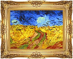 Vincent Van Gogh Wheat Field With Crows Detail canvas with Majestic Gold frame
