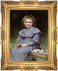 William Bouguereau Daisies canvas with Majestic Gold frame