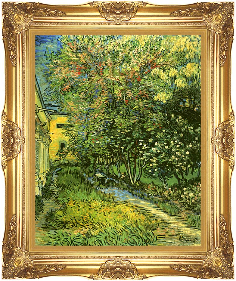 Vincent van Gogh The Garden of Saint-Paul Hospital with Majestic Gold Frame