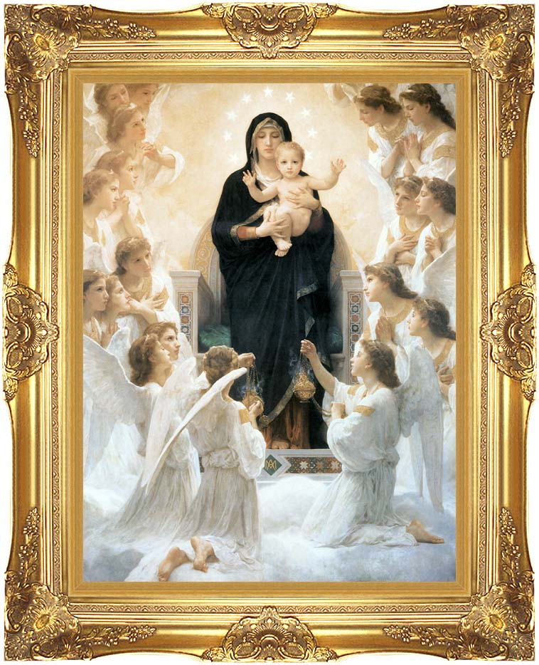 William Bouguereau The Virgin with Angels with Majestic Gold Frame