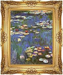 Claude Monet Water Lilies 1916 Portrait Detail canvas with Majestic Gold frame