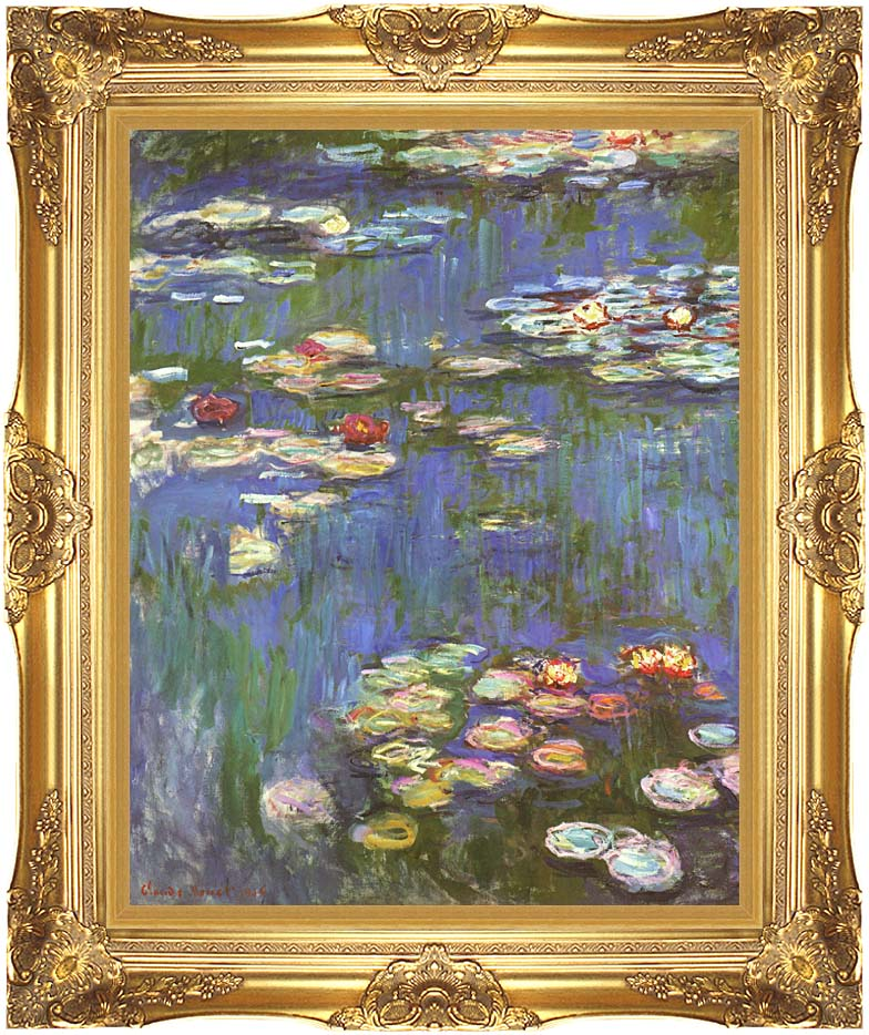 Claude Monet Water Lilies 1916 (portrait detail) with Majestic Gold Frame