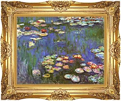 Claude Monet Water Lilies 1916 Detail canvas with Majestic Gold frame