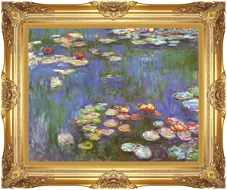 Claude Monet Water Lilies 1916 (detail) with Majestic Gold Frame