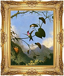Martin Johnson Heade Amethyst Woodstar canvas with Majestic Gold frame