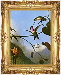 Martin Johnson Heade Amethyst Woodstar Detail canvas with Majestic Gold frame