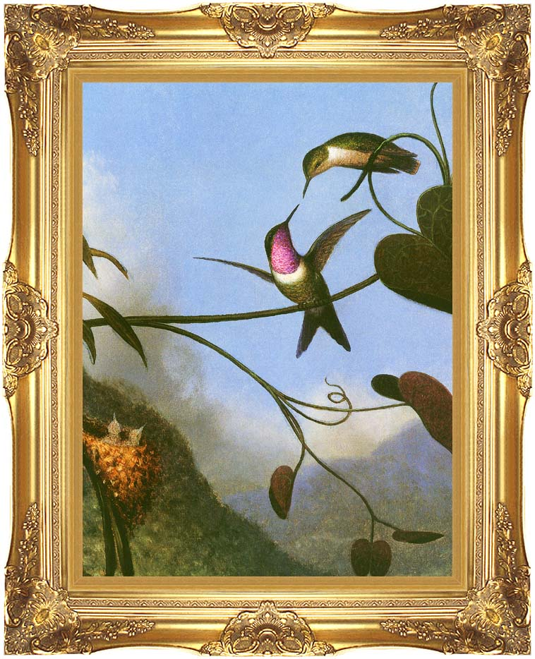 Martin Johnson Heade Amethyst Woodstar (detail) with Majestic Gold Frame