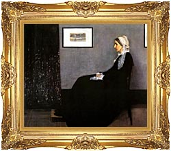 James Abbott McNeill Whistler Arrangement In Grey And Black Portrait Of The Artists Mother canvas with Majestic Gold frame