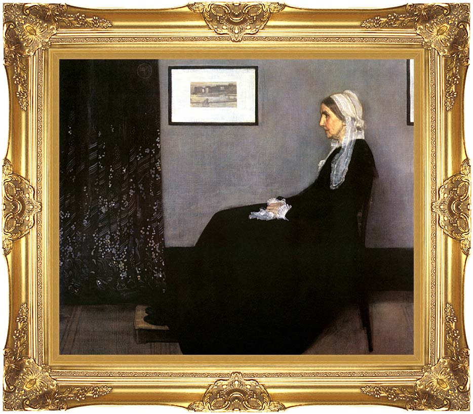 James Abbott McNeill Whistler Arrangement in Grey and Black: Portrait of the Artist's Mother with Majestic Gold Frame