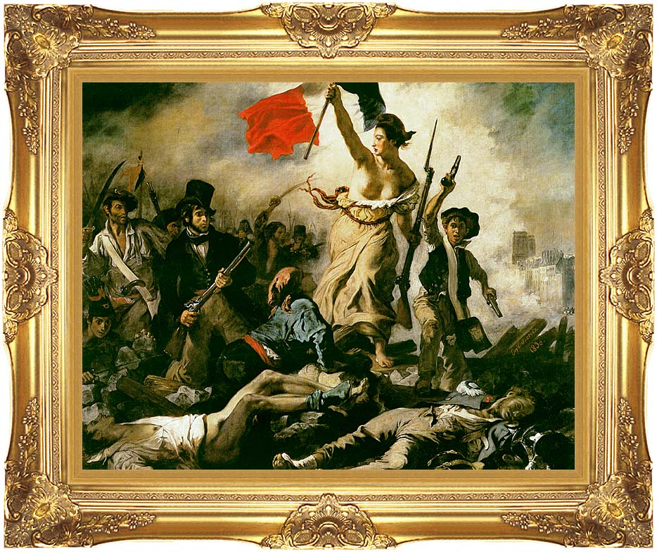 Eugene Delacroix Liberty Leading the People with Majestic Gold Frame