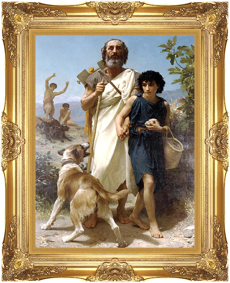 William Bouguereau Homer and His Guide with Majestic Gold Frame