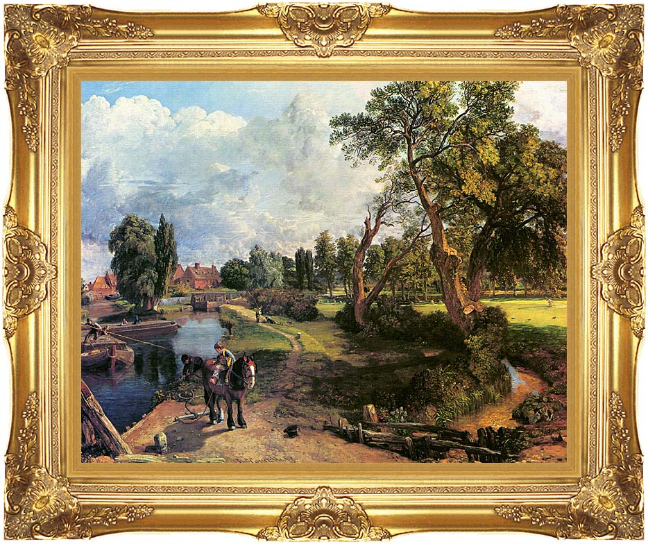 John Constable Flatford Mill, on the River Stour with Majestic Gold Frame