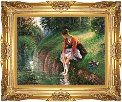 Camille Pissarro Woman Bathing Her Feet canvas with Majestic Gold frame