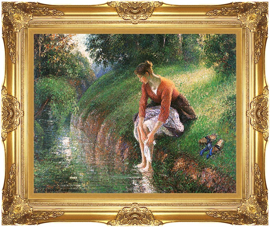 Camille Pissarro Woman Bathing Her Feet with Majestic Gold Frame