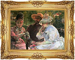 Marie Bracquemond On The Terrace At Sevres canvas with Majestic Gold frame