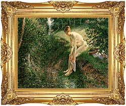 Camille Pissarro Bather In The Woods canvas with Majestic Gold frame