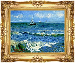 Vincent Van Gogh The Sea At Les Saintes Maries De La Mer canvas with Majestic Gold frame