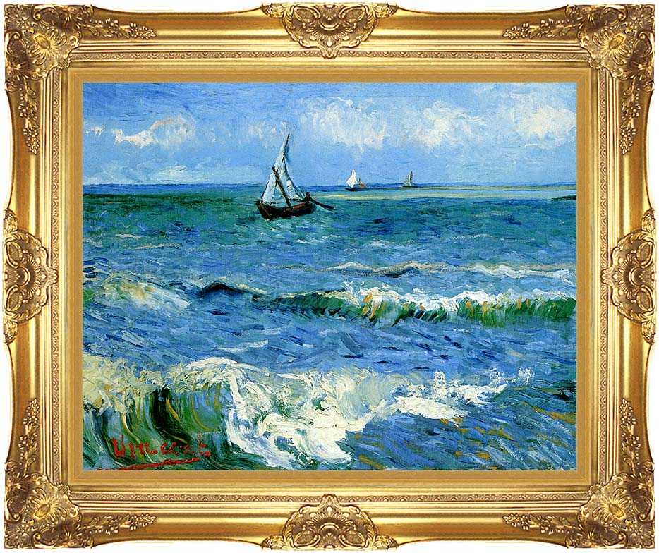 Vincent van Gogh The Sea at Les Saintes Maries de la Mer with Majestic Gold Frame